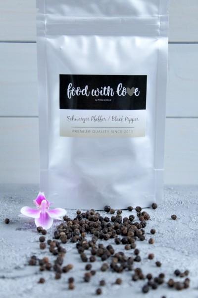 Schwarzer BIO-Pfeffer aus Sri Lanka by «food with love» im wiederverschließbaren Aromabeutel