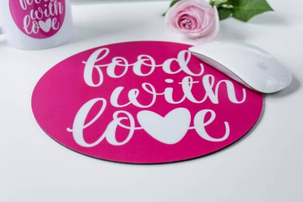 Mousepad «food with love» | Ø 21 cm rund | pink