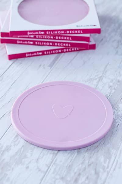 Silikondeckel «food with love» für Thermomix Mixtopf TM6/TM5/TM31 | Ø 20 cm | pink