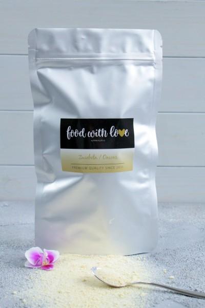 Bio-Zwiebelgranulat aus Ägypten by «food with love» im wiederverschließbaren Aromabeutel v